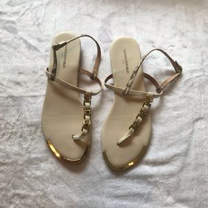 Gold Snake Print Banana Republic Sandals Size 7